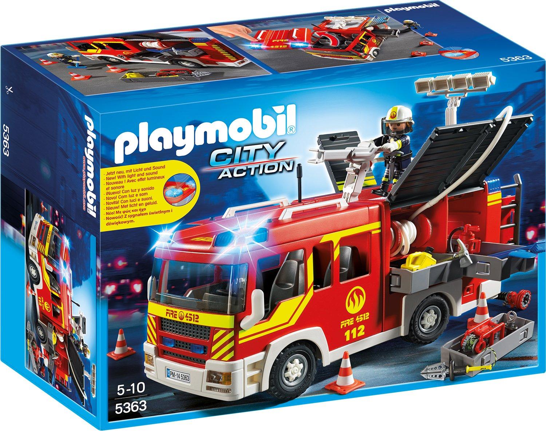 Playmobil Löschgruppenfahrzeug mit Licht und Sound - Feuerwehrstation Playmobil