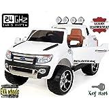 Ford Ranger Wildtrak de luxe Voiture-jouet électrique pour enfant, 2.4Ghz Bluetooth contrôle á distance, DEUX MOTEURS, deux sièges en cuir, Roues EVA douces, Blanc, licence Ford originale