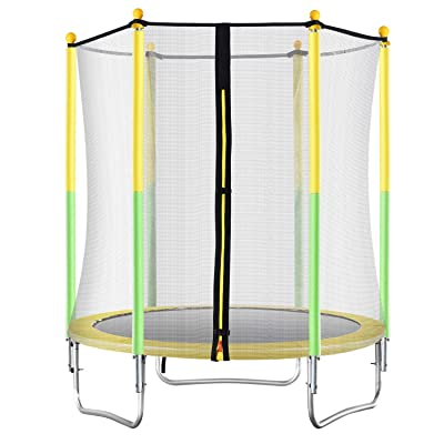"Kingjumper 55"" Kids Trampoline, with Safety Enclosure Net & Spring Pad, Bulit-in Zipper Heavy Duty Steel Frame, Outdoor Indoor Mini Trampolines for Kids,Yellow/Green Small Trampoline : Sports & Outdoors"