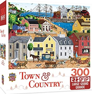 MasterPieces Town & Country Home Port Ocean Pier Large EZ Grip Jigsaw Puzzle by Art Poulin, 300-Piece