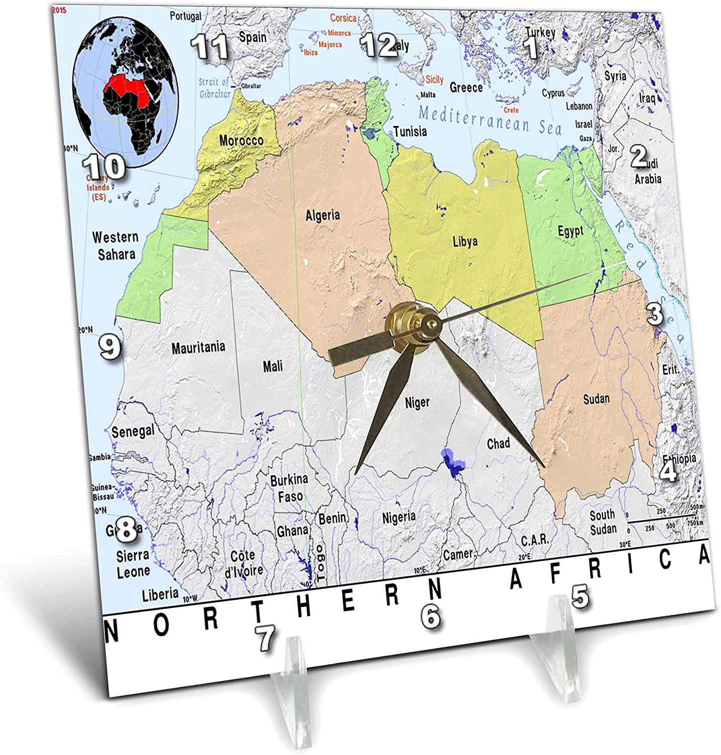 3dRose Image of Northern Africa Colorful Topo Map with Seven Countries - Desk Clocks (dc_326090_1)