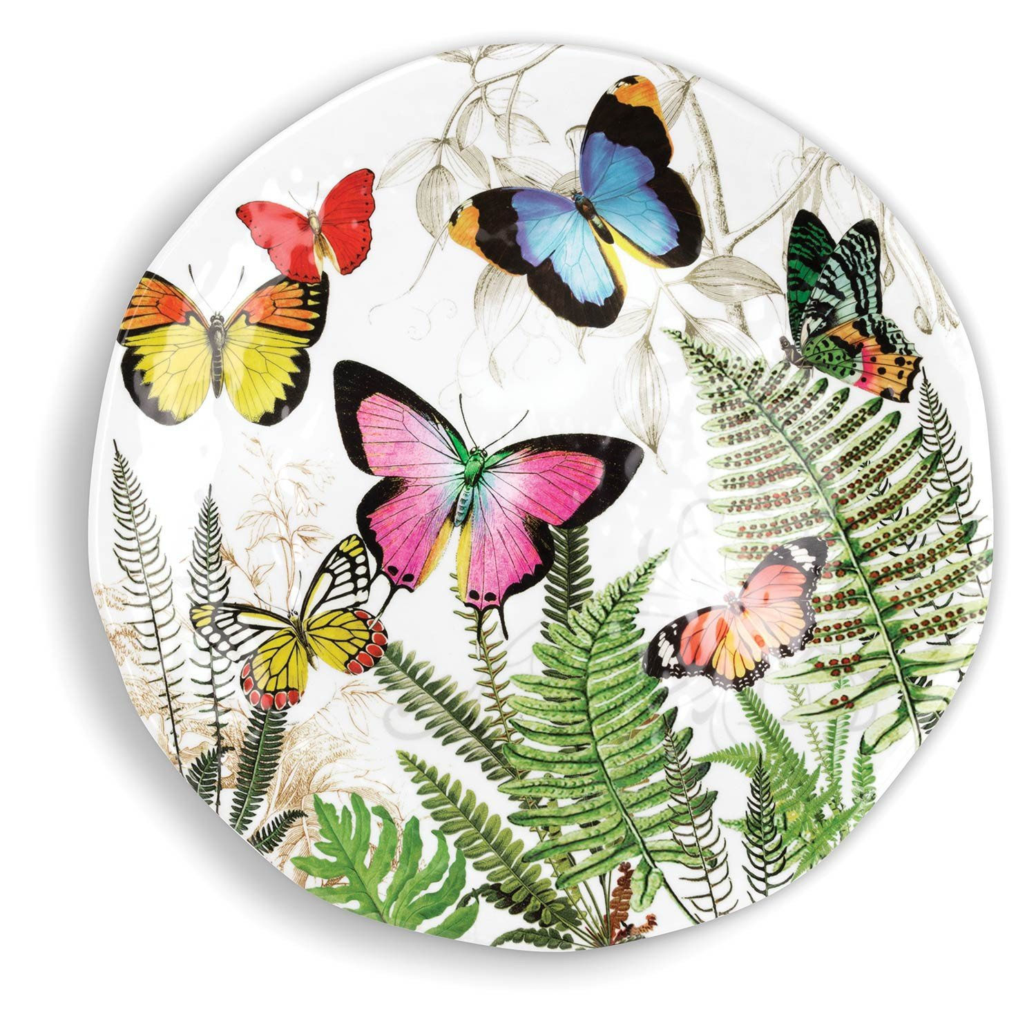 Michel Design Kitchen Dining Serveware Round Platter - Papillon