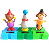 Solar Powered Circus Animals - Connectable Dancing Seal, Monkey & Bear