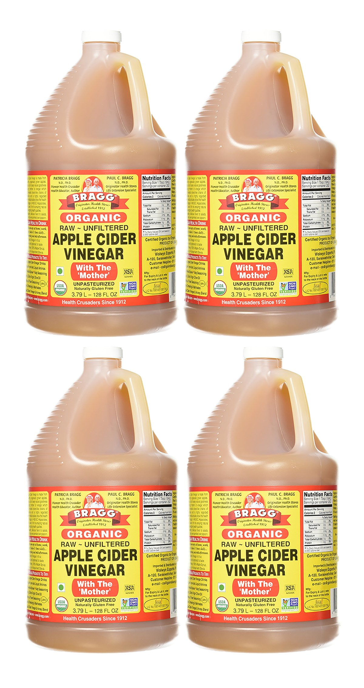 Bragg Organic Raw Apple Cider Vinegar, 128 Ounce, 4 Gallons