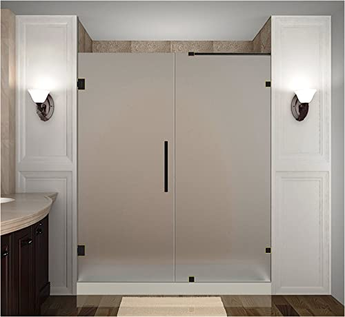 Aston Nautis Completely Frameless Hinged Shower Door in Frosted Glass, 76 x 72 , Oil Rubbed Bronze