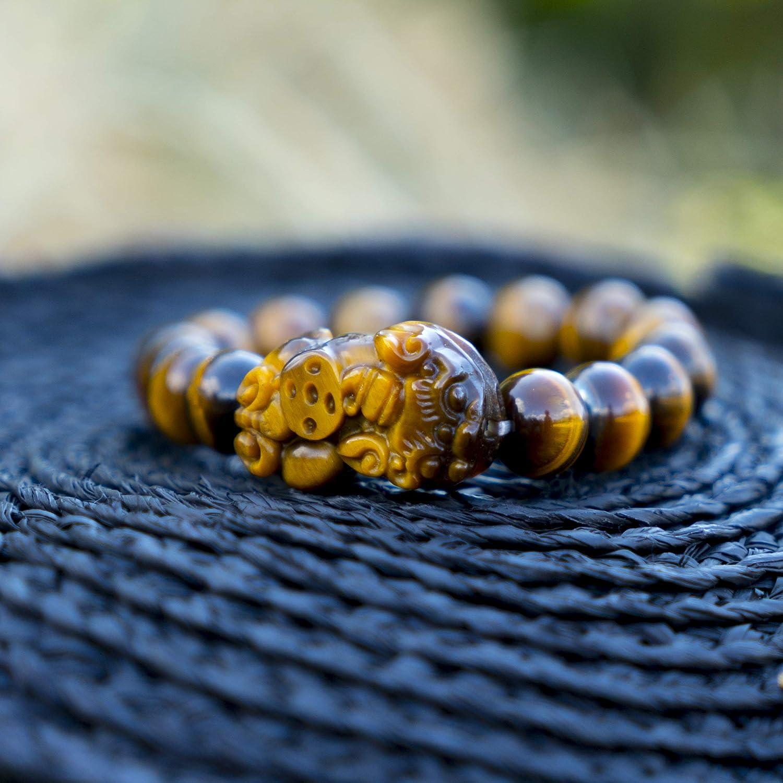 Confiance En Soi Bracelet Chakra Diam 10mm + Oeil de Tigre Homme et Femme Bracelet BOUDDHISTE Bracelet Pierre Naturelle Lithotherapie Pierres Semi Precieuse