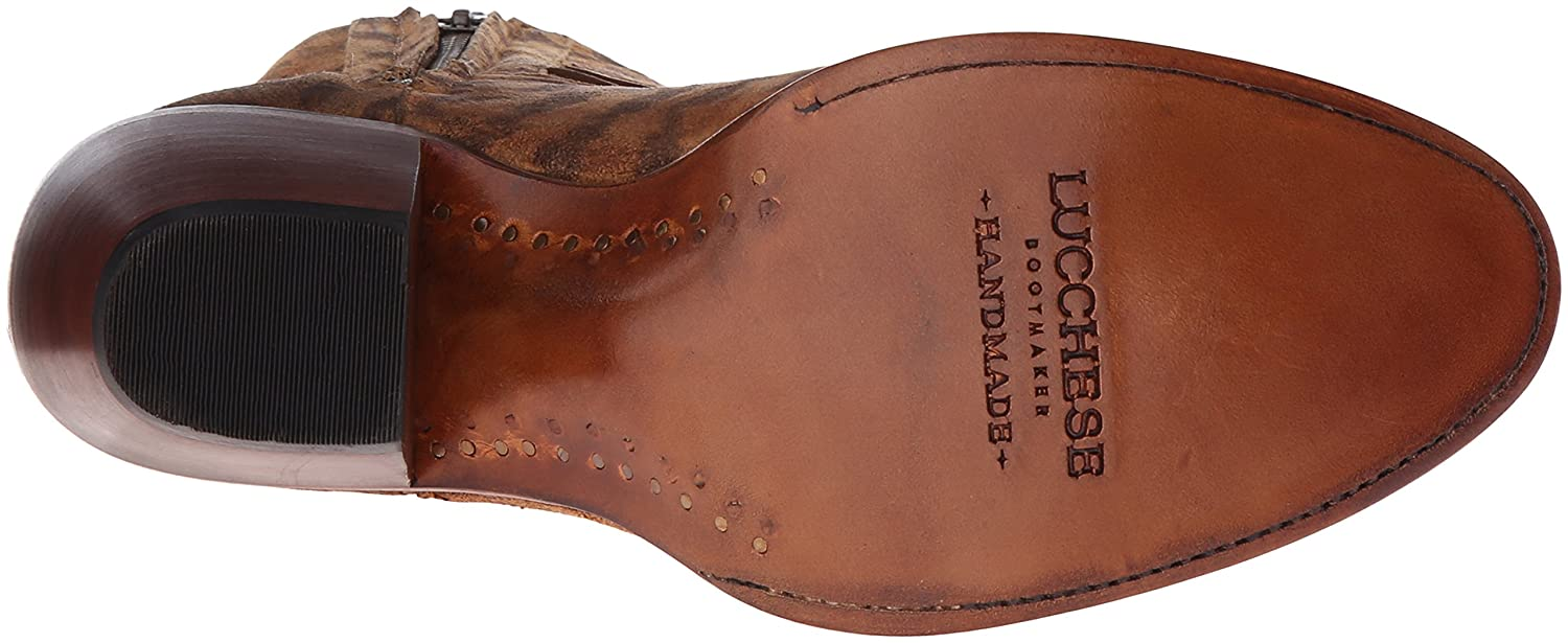 Lucchese Classics Women's Robyn-Tan Printed Sde Shorty with Fringe Ankle Bootie B01AXUHPGI 8.5 B(M) US|Tan