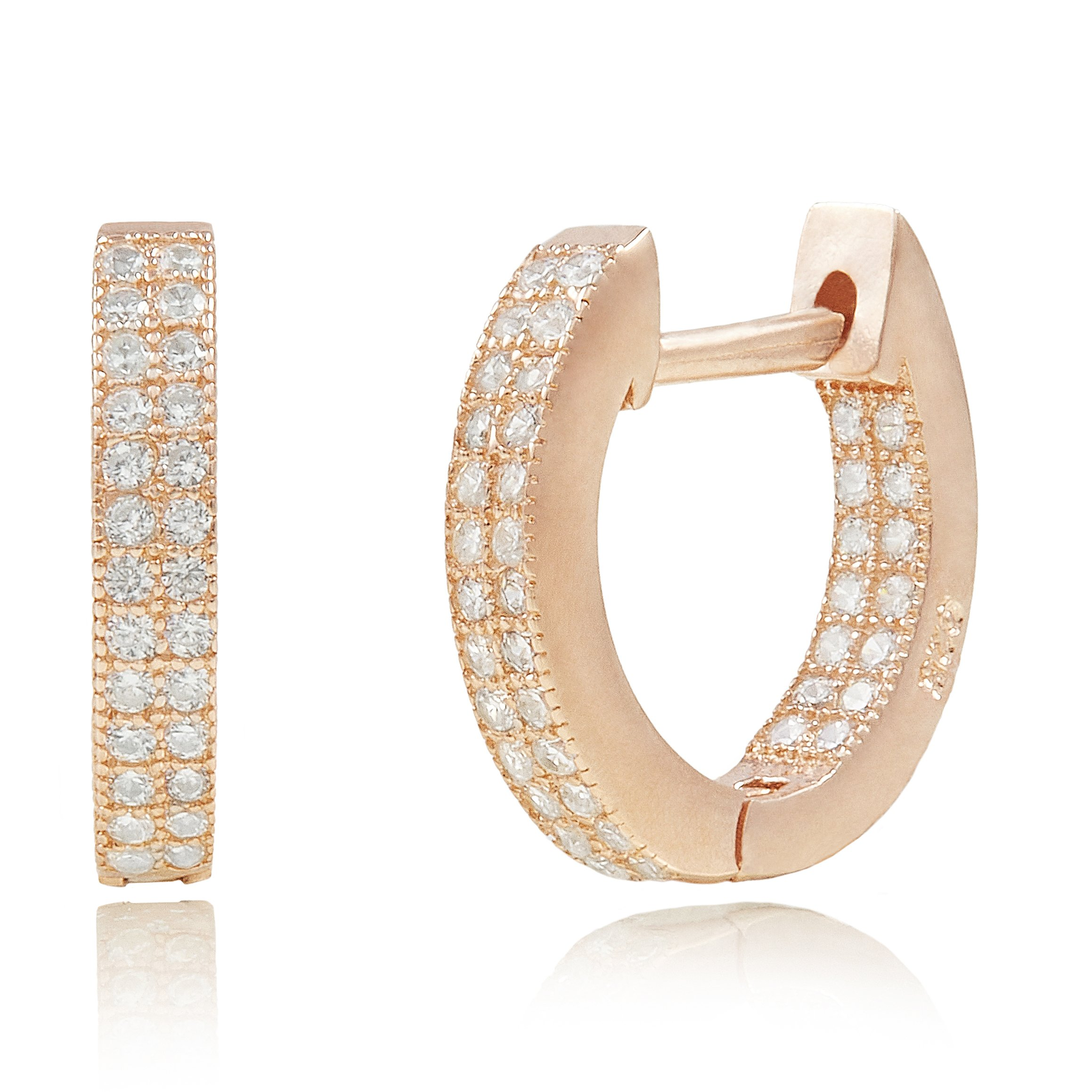 Spoil Cupid Rose Gold-Plated Sterling Silver In-and-Out Cubic Zirconia Huggie Hoop Earrings