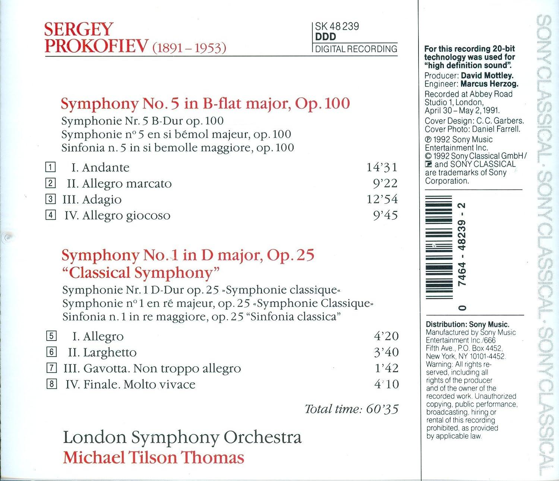 Prokofiev, Michael Tilson Thomas, London Symphony Orchestra   Prokofiev:  Symphonies 1 U0026 5   Amazon.com Music