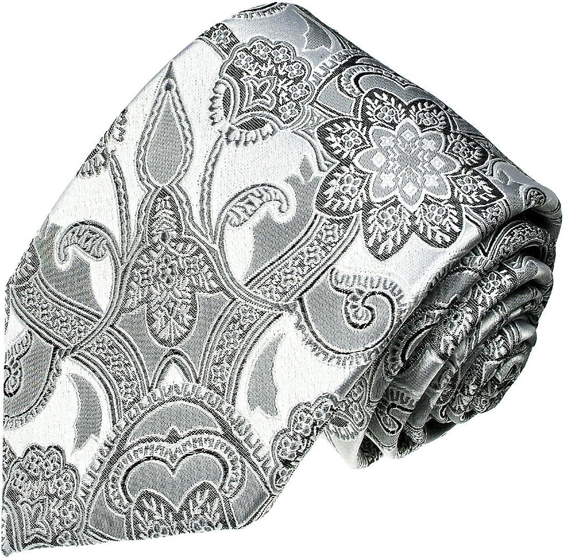 LORENZO CANA Italian Pure Silk Handmade Tie Silver Floral Paisley Necktie 25006