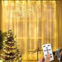 AGPTEK Cortina de Luces LED 3 * 3M 300 LED USB Luz Cadena Navidad Impermeable con 8 Modos y 15 Brillos, Recortable con…