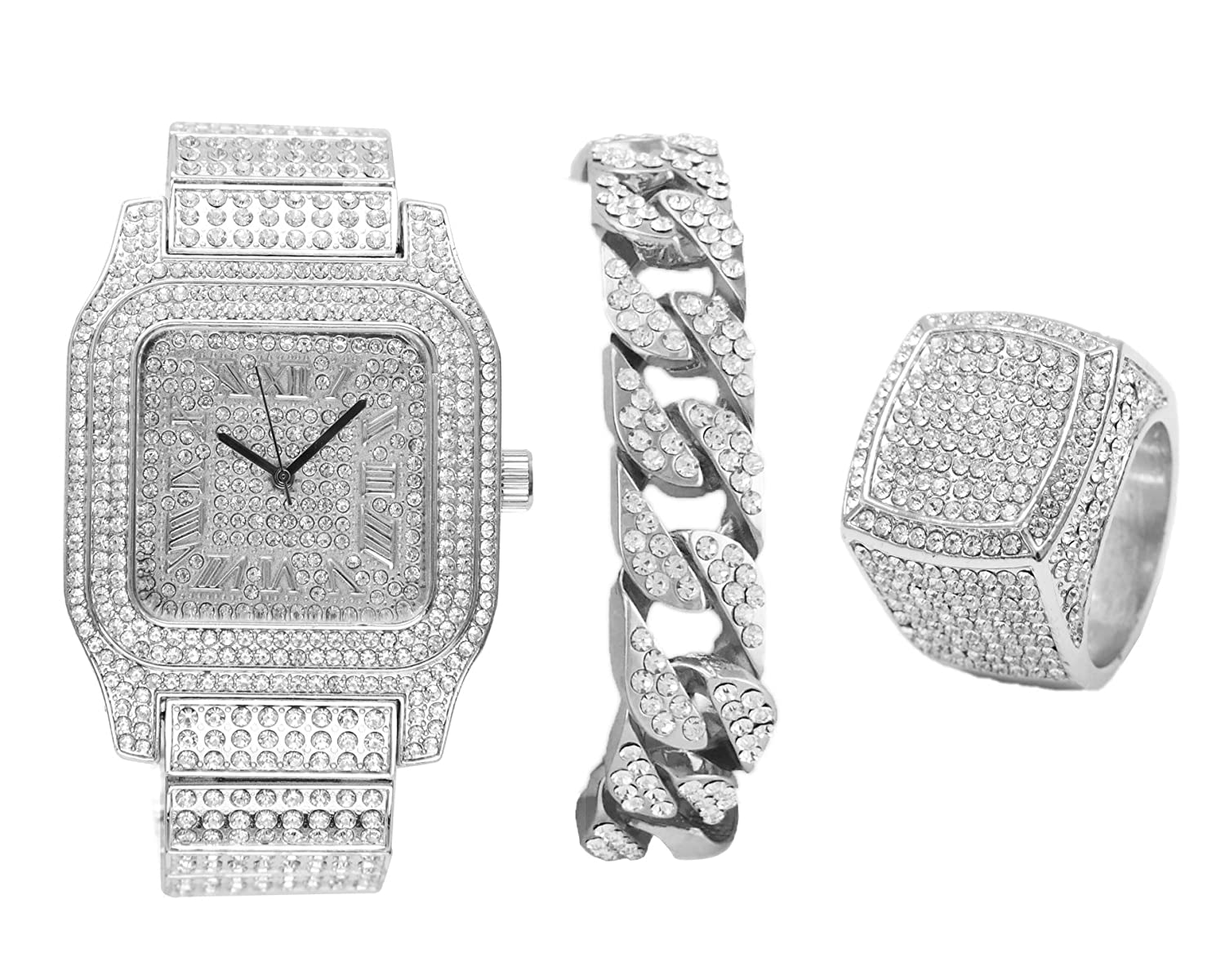 b0e19f747638a Diamonds Shining Everywhere with This 3pc Hip Hop Set Ice Watch Cuban  Bracelet and Ring - 0513Silver 3pcs