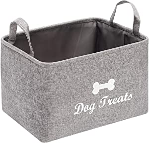 Linen-Cotton Blend Dog Food Storage Container, Dog Bone Storage bin with Handle - Perfect for organizing Dog Food and Treats for Home décor