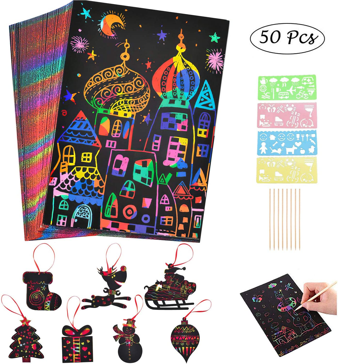20 Pièce Scratch Art Papier bricolage vue de NUIT carte à gratter Rainbow Peinture