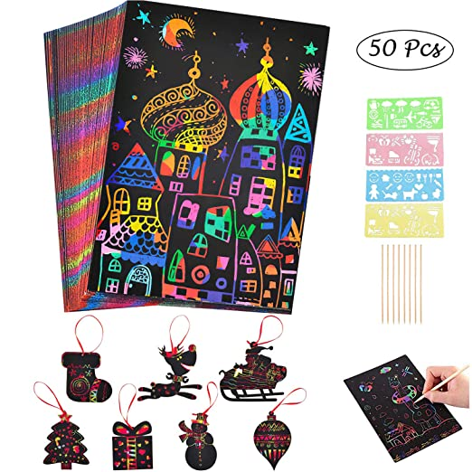 Sawera Kit Art Scratch para niños, Hojas de Dibujo 50 Hojas con ...