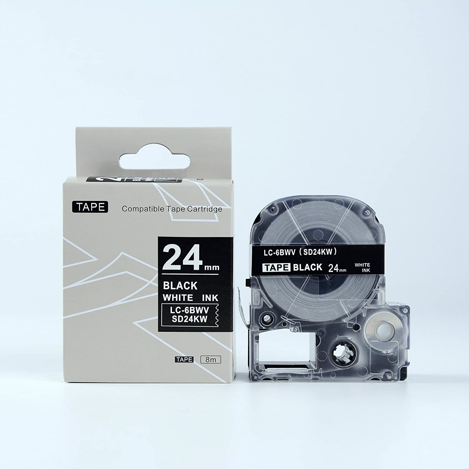 8 PK Black on White LC-5WBN Label Tape for LW700 LW600P LW1000P SR950 18mm 8m