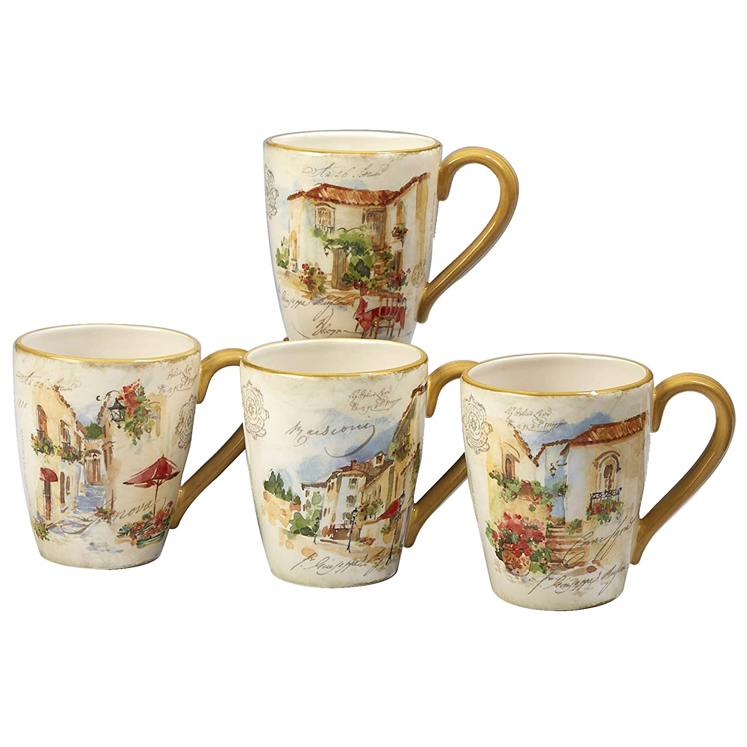 Certified International Corp 23672SET4 Piazzette 22 oz. Mugs, Assorted Designs, Set of 4 Multicolor