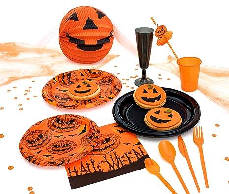 Party Planet - Pacchetto festa di Halloween di 12 persone con accessori  decorativi e servizio da 10f2a90d9047