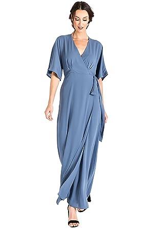 ccb3ea65a973f Standards   Practices Modern Women s Blue Woven Chiffon Kimono Wrap Maxi  Dress ...