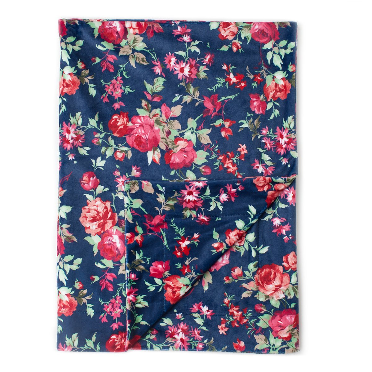 Kids N' Such Minky Baby Blanket 30'' x 40'' - Navy Floral - Soft Swaddle Blanket for Newborns and Toddlers - Best for Girl Crib Bedding, Nursery, and Security - Plush Double Layer Fleece Fabric
