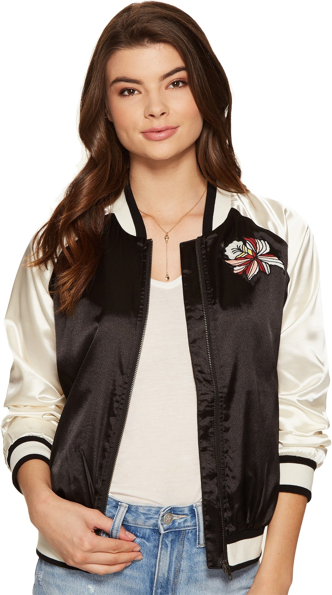 Lovers+Friends Women's Los Angeles Bomber Black/White Outerwear