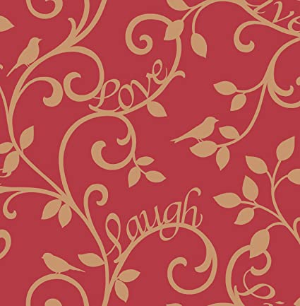 Bhf Fd40284 Live Love Laugh Scroll Wallpaper Red Gold 2 Piece