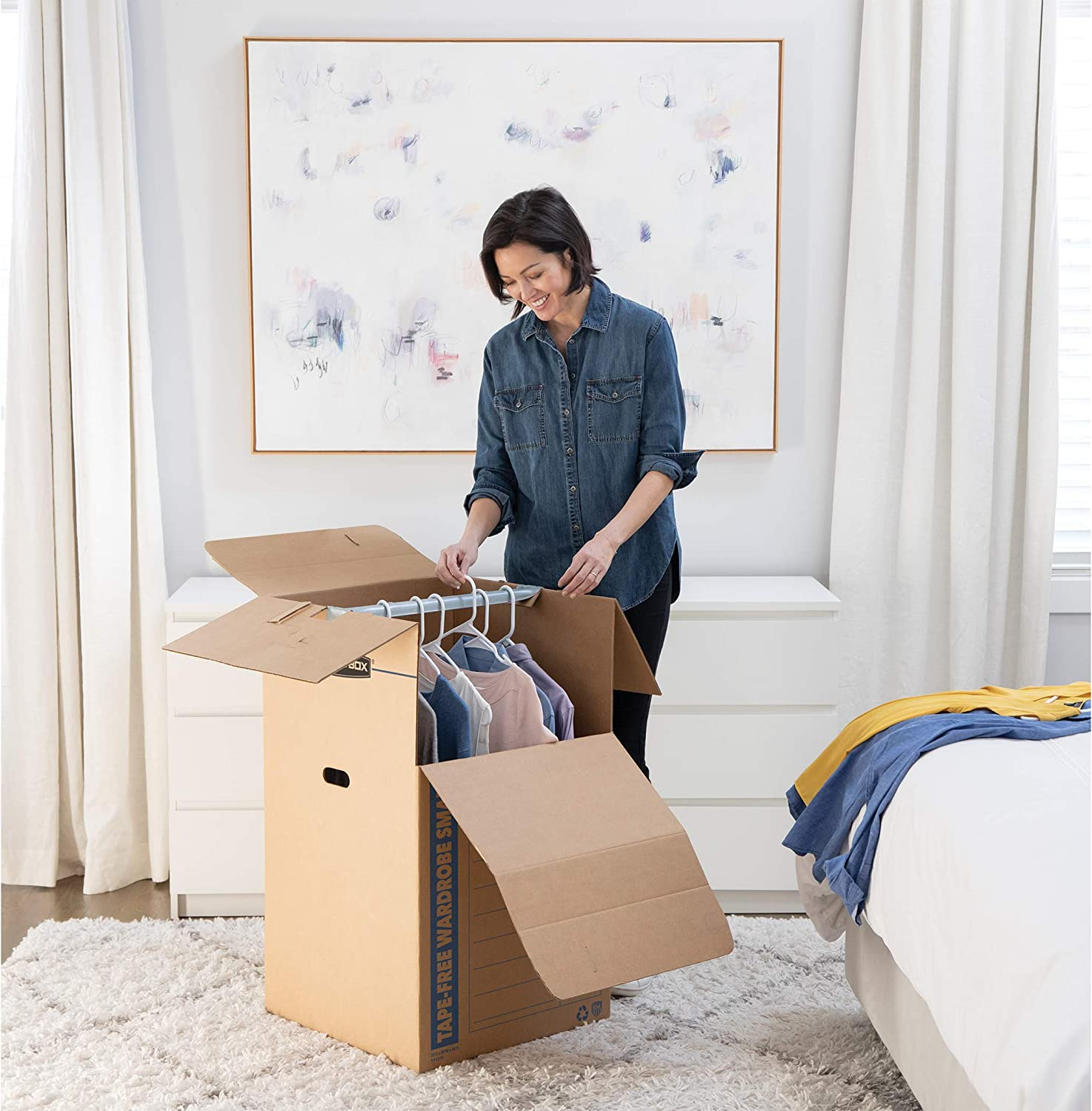 20 x 20 x 34 Inches 3 Pack Short 5 Sets 7710902 Bankers Box SmoothMove Wardrobe Moving Boxes