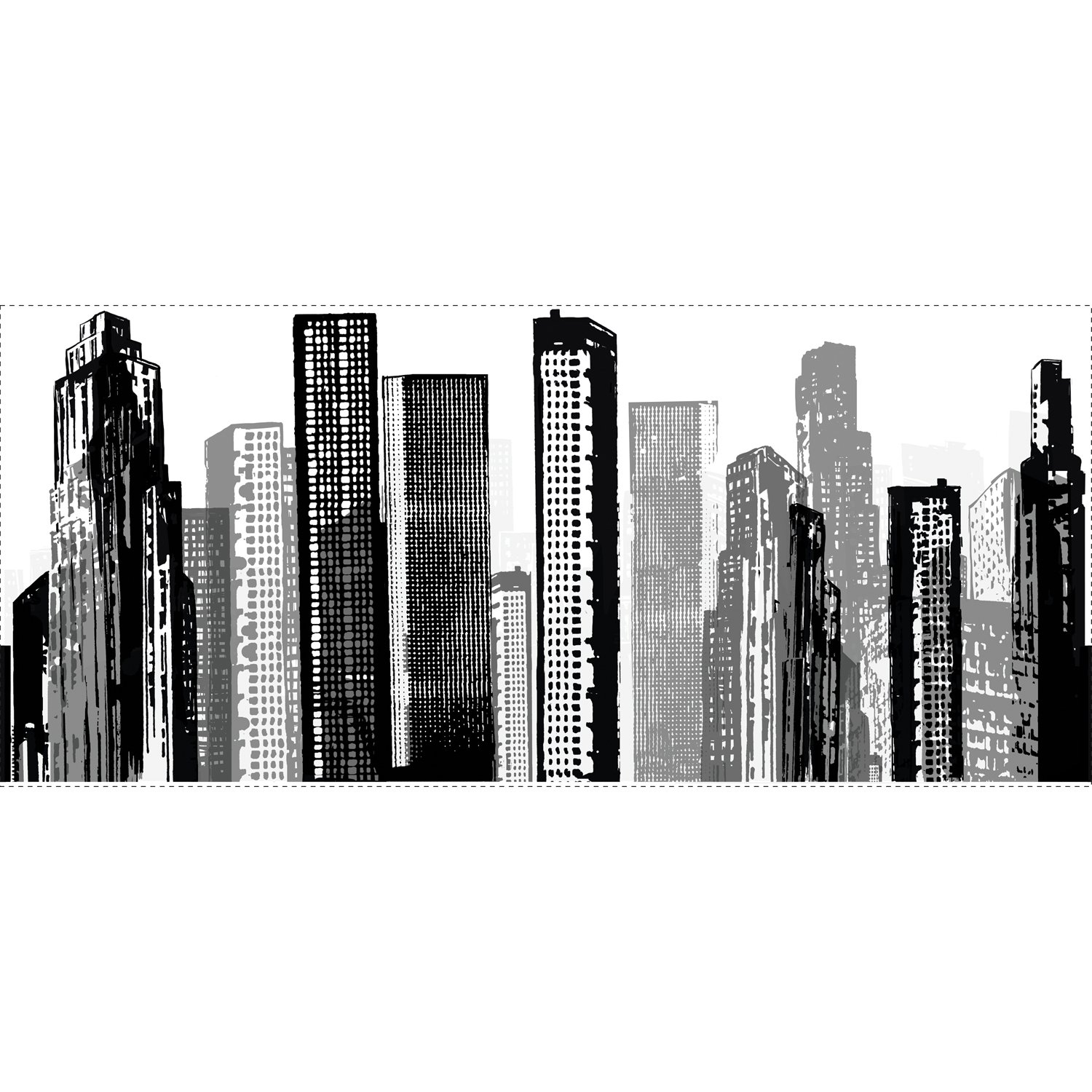 Roommates Rmk1602gm Cityscape Peel And Stick Giant Wall Decal Wall