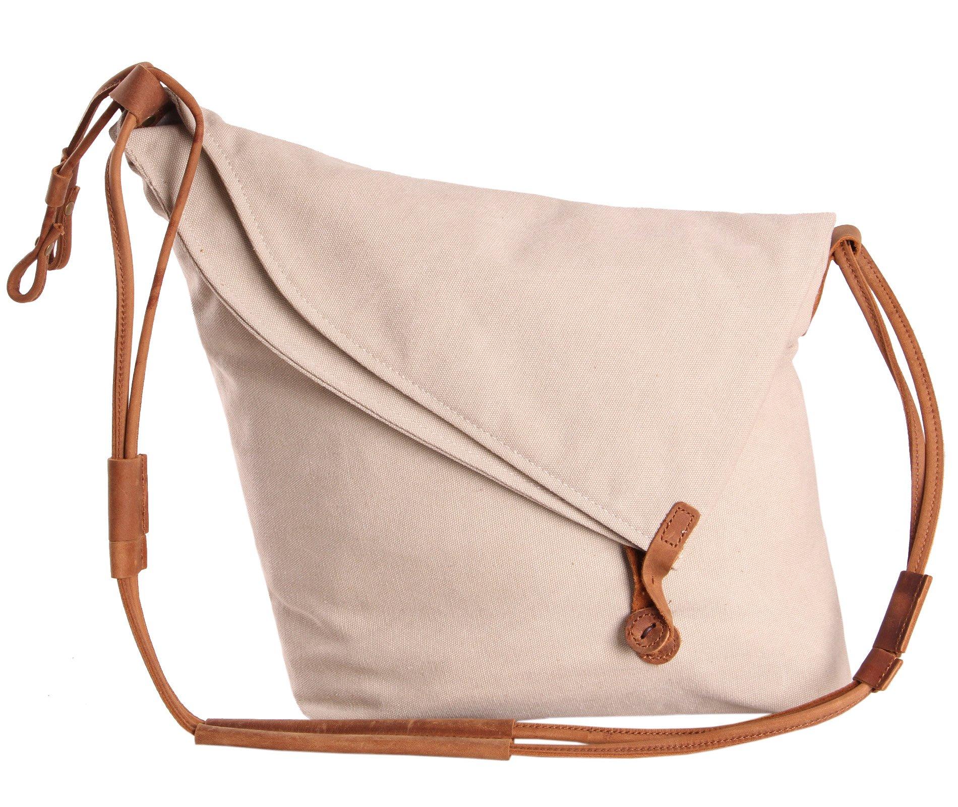 Tom Clovers Summer New Women's Men's Classy Look cool Simple style Casual Canvas Crossbody Messenger Shouder Handbag Tote Weekender Fashion Bag Beige
