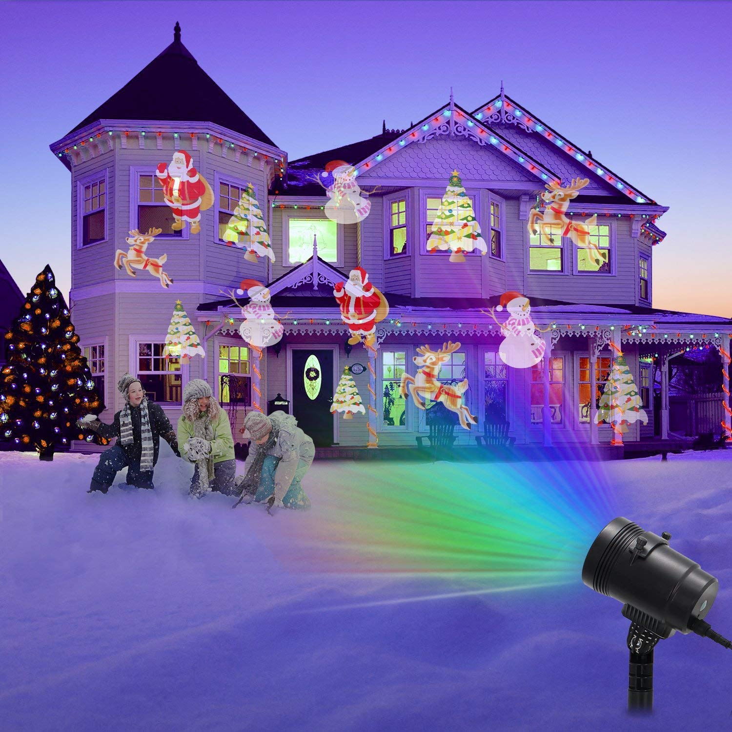 Christmas LED Projector Light, Outdoor Waterproof High Brightness Light Show with 32ft Cable & Remote Control for Christmas, Party and Holiday Decorations (16 Patterns) by Tunnkit (Image #4)