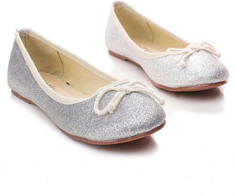 Sullys Childrens Girl Glitter Bow Slip On Ballerina Dress Flats