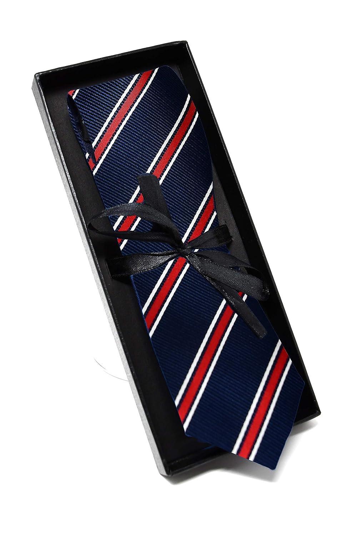 100/% Seta Elegante e Moderna - ideale per un regalo, un matrimonio, con un abito, in ufficio. Classica Oxford Collection Cravatta da uomo Blu e Rosso a Righe
