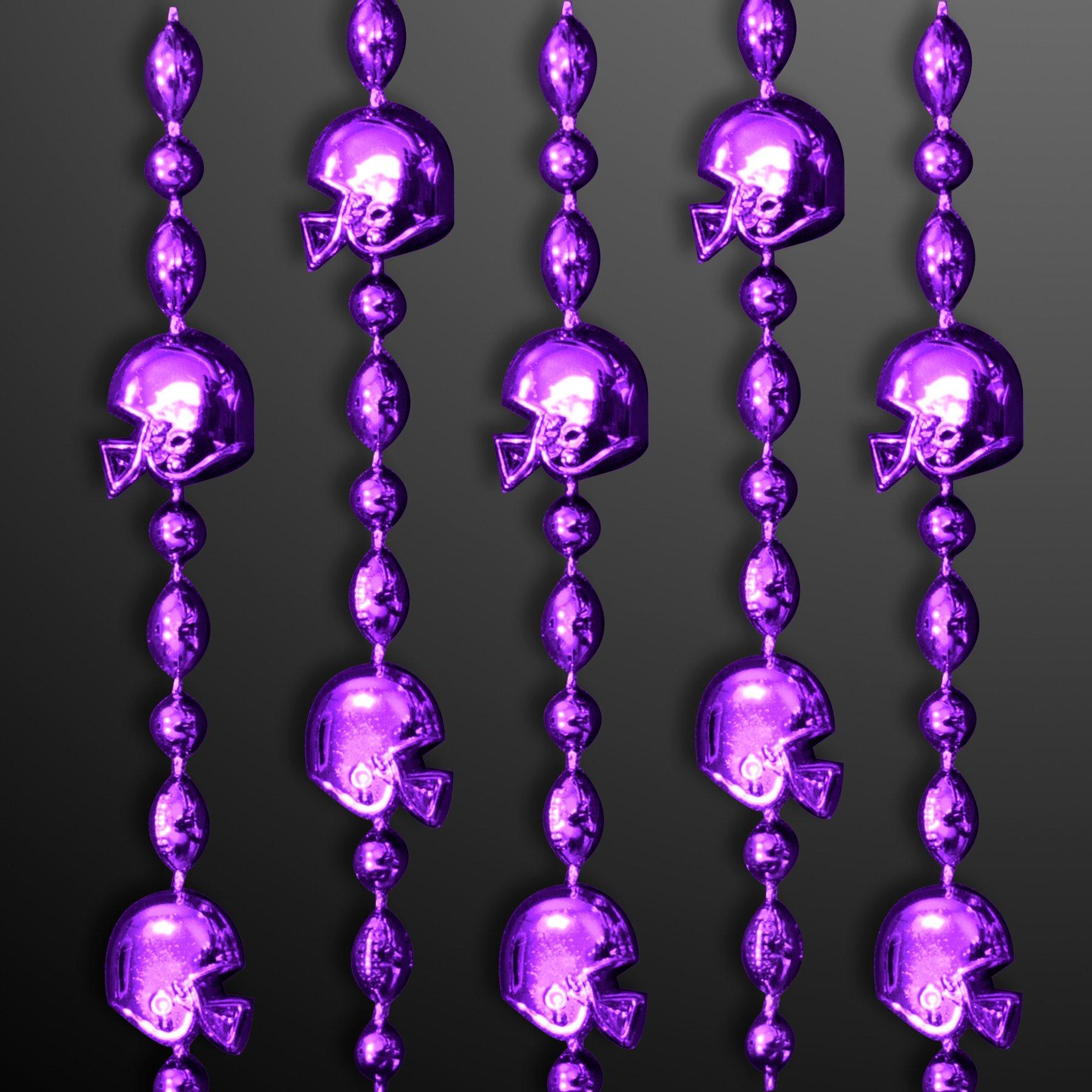 FlashingBlinkyLights Purple Football Helmet Mardi Gras Bead Necklaces (Set of 144)