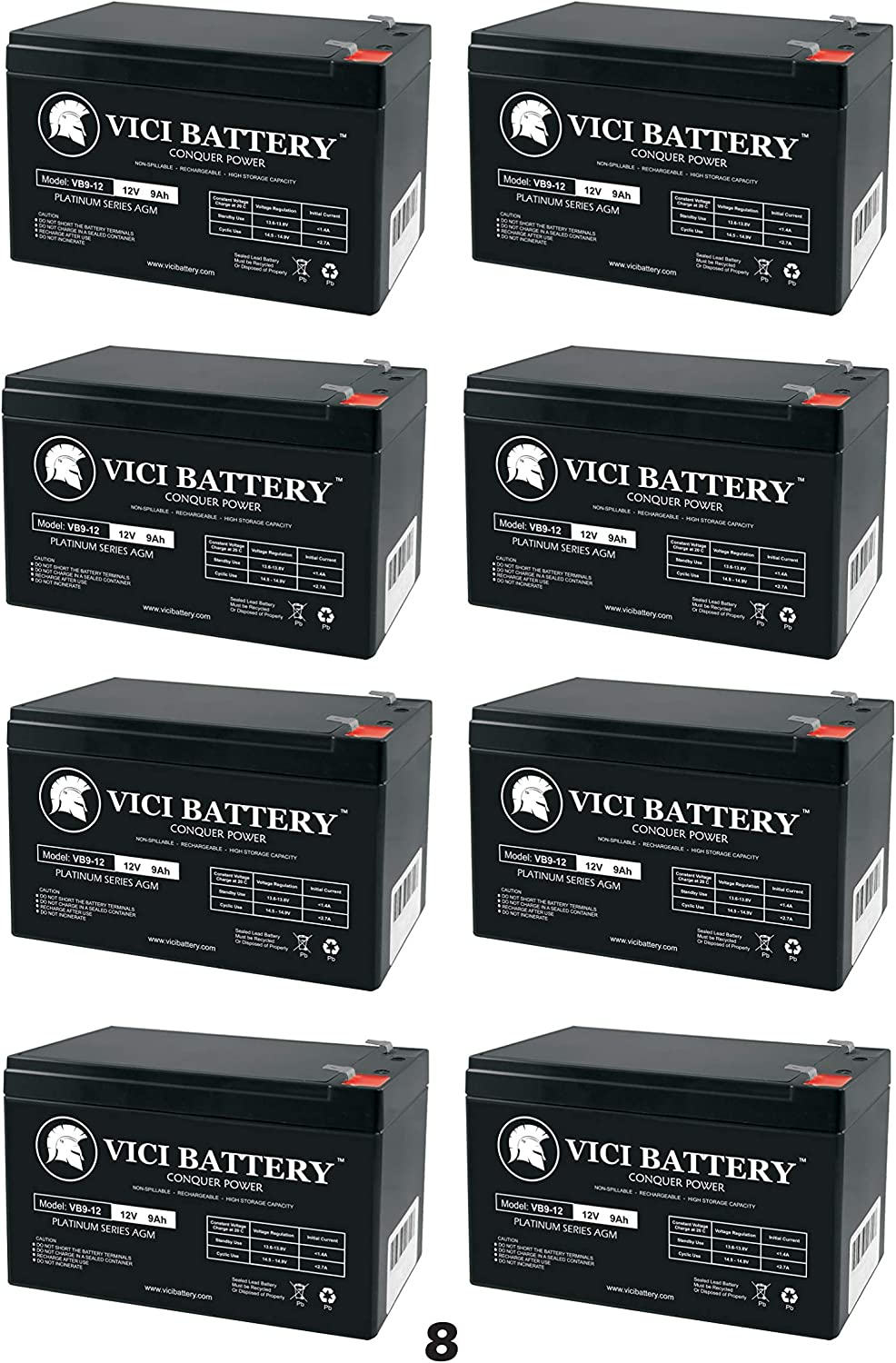 8 Pack Brand Product VICI Battery 12V 9AH Battery for HR1234W Home Alarm