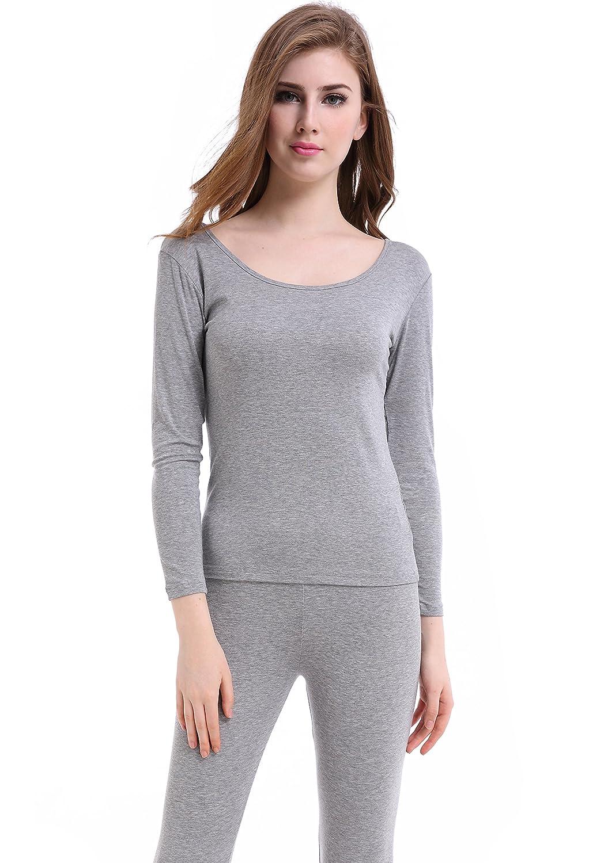 Damen mit Rundhalsaußchnitt Thermounterwäsche Set Stretch Dünnes (Hemd + Hose)