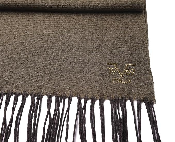 feac0cd6a69 V1969 by Versace 19.69 Echarpe Homme Cachemire laine viscose chaude douce  avec sa pochette cadeau couleur Kaki  Amazon.fr  Vêtements et accessoires
