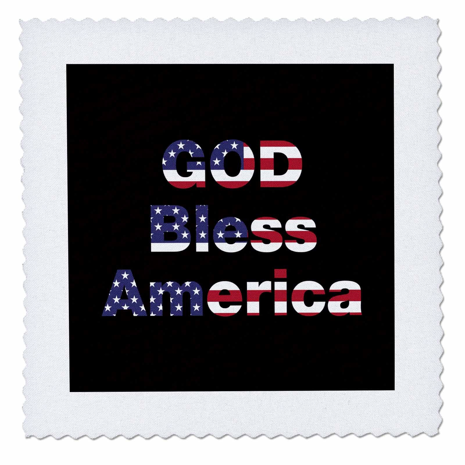3dRose Uta Naumann Flags of the World - USA American Flag Stars and Stripes-Patriotic-God Bless America-Black - 25x25 inch quilt square (qs_268993_10) by 3dRose