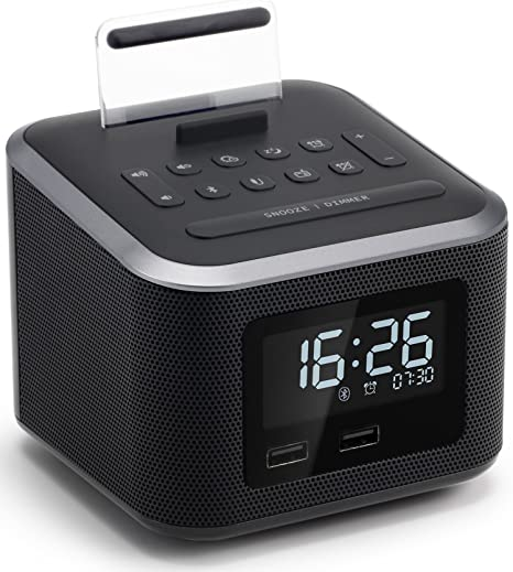 Alarm Clock Radio,Wireless Bluetooth Speaker,Digital Alarm Clock USB Charger for Bedroom with FM Radio/USB Charging Port/AUX-in and Cell Phone ...