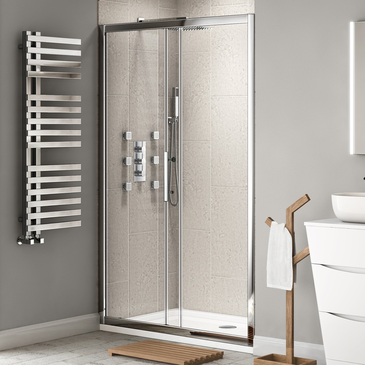 iBathUK 1200 mm Premium Sliding 8mm Thick Easy Clean Glass Shower Enclosure Cubicle Door