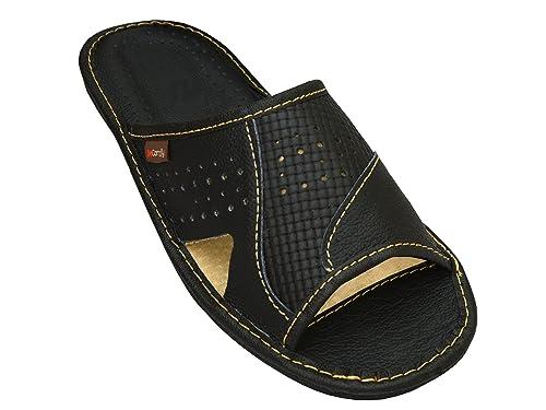 BeComfy Zapatillas de casa para Hombres 100% Cuero genuino punta abierta 5UtACuXh6V