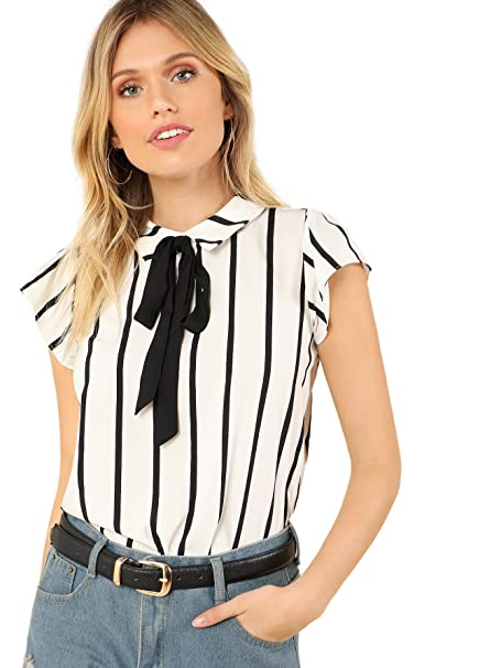 e9305cff9d3 WDIRARA Women s Summer Casual Cap Sleeve Striped Slim Fit Blouse Shirt Top  Black and White XS