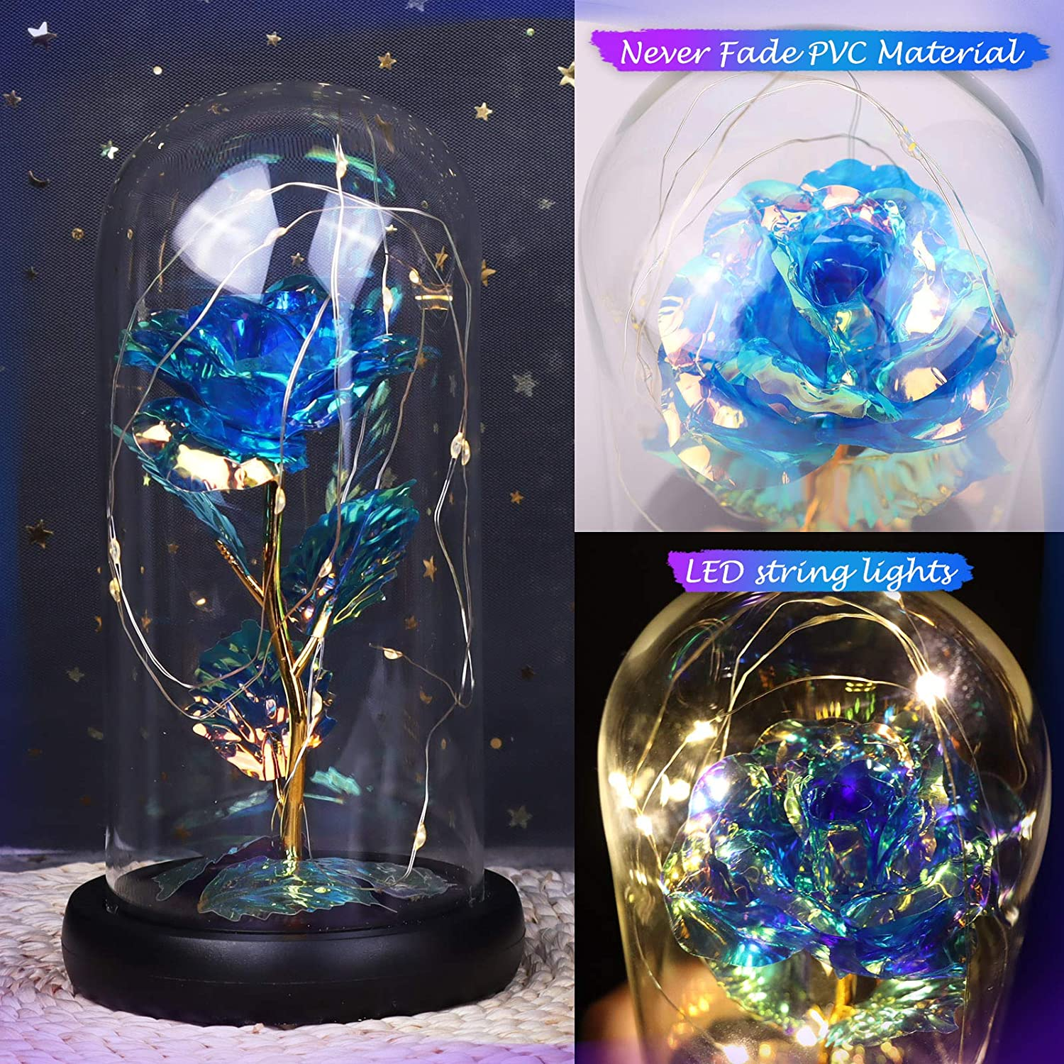 Greeting Card for Valentines Gifts Mothers Day Rose in Glass Dome with LED Light Yodeace Rose Eternelle
