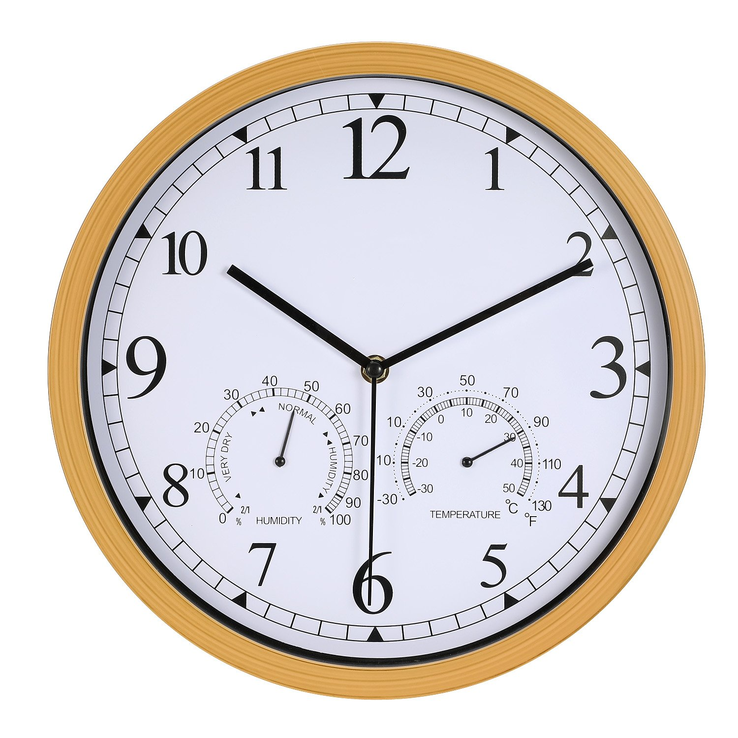 Genbaly 12 Inch Indoor/Outdoor Modern Wall Clock with Temperature & Humidity, Silent Non Ticking Round Wall Clock Home Decor with Arabic Numerals by Genbaly