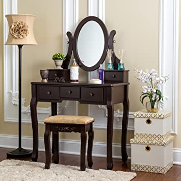 online store 412b7 3c517 Fineboard HFB-VT07-BN Single Mirror Dressing Set Five Organization Drawers  Vanity Table with Wooden Stool, Brown