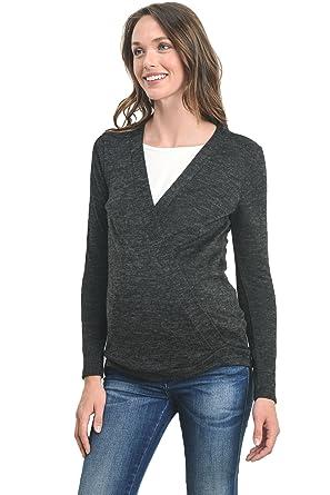 5c1171fecba6 Hello MIZ Women s Sweater Knit Surplice Long Sleeve Maternity ...