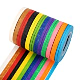 """24 Rolls 3mm Graphic Tape, Whiteboard Tape - 1/8"""" x 42.6 Feet - Thin Tape Pinstripe Art Tape Dry Erase Board Grid Tape - Assorted Colors"""