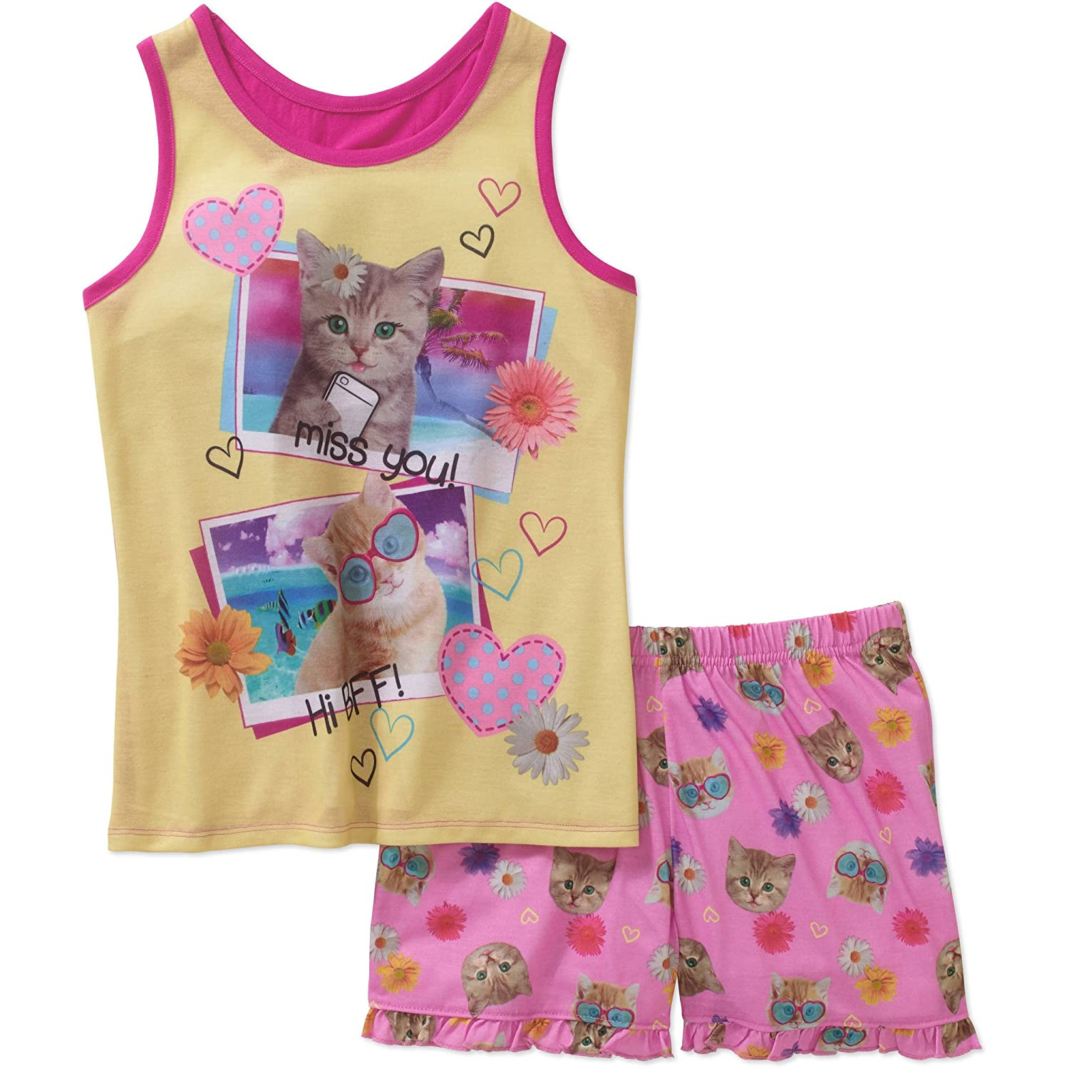 Girls Sizes 4-16 Girls Graphic Pajama Sleep Tank and Shorts Two-Piece Set Featuring Animals Fun Characters