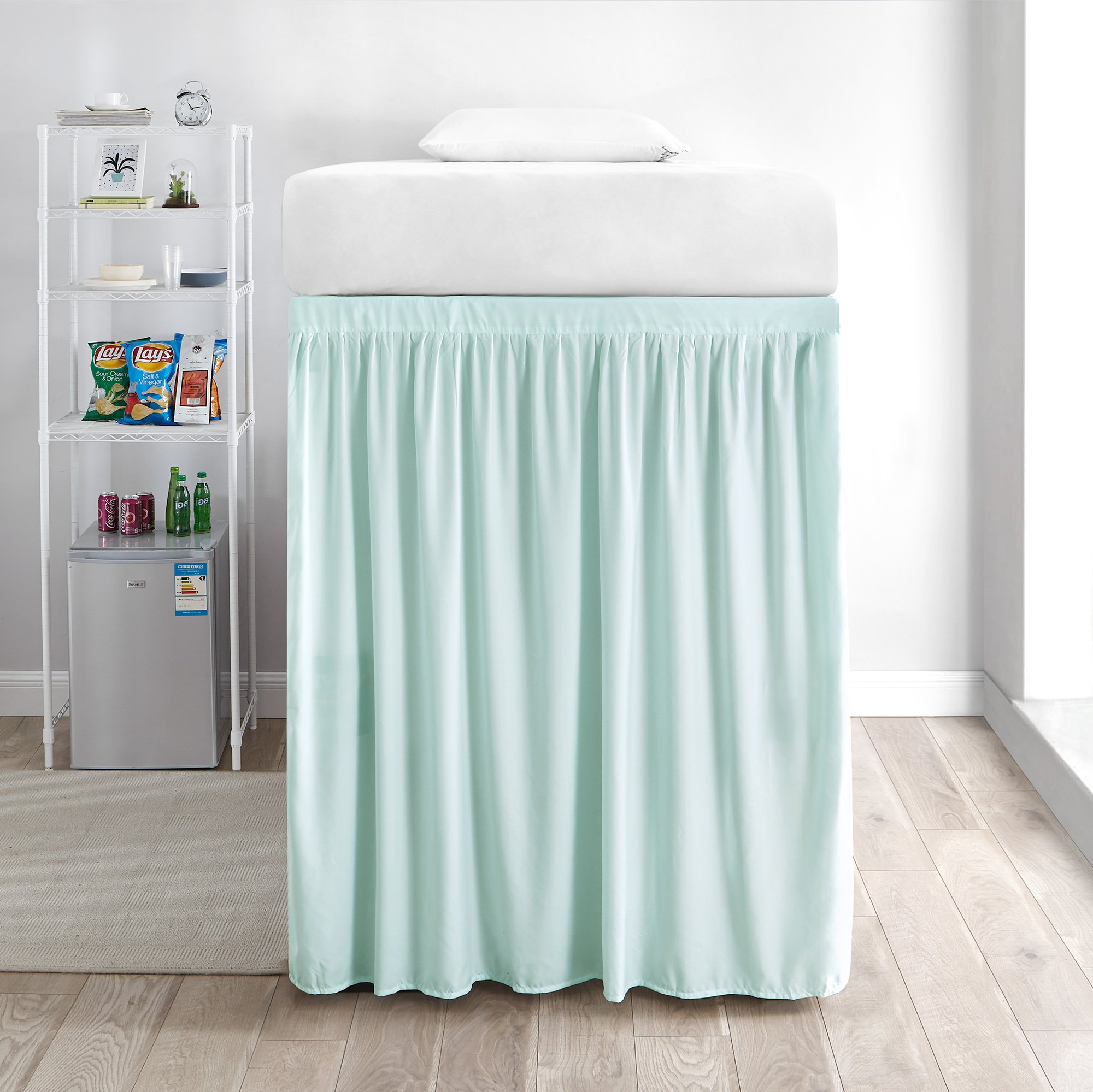 DormCo Extended Bed Skirt Twin XL (3 Panel Set) - Hint of Mint