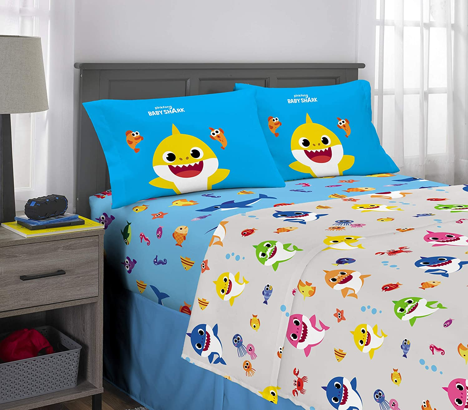 Franco Kids Bedding Super Soft Microfiber Sheet Set, 4 Piece Full Size, Baby Shark