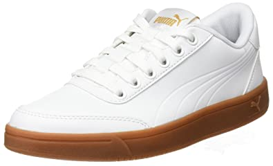 400cc95530e2 Puma Unisex-Erwachsene Court Breaker L Mono Sneaker Weiß White-Metallic  Gold